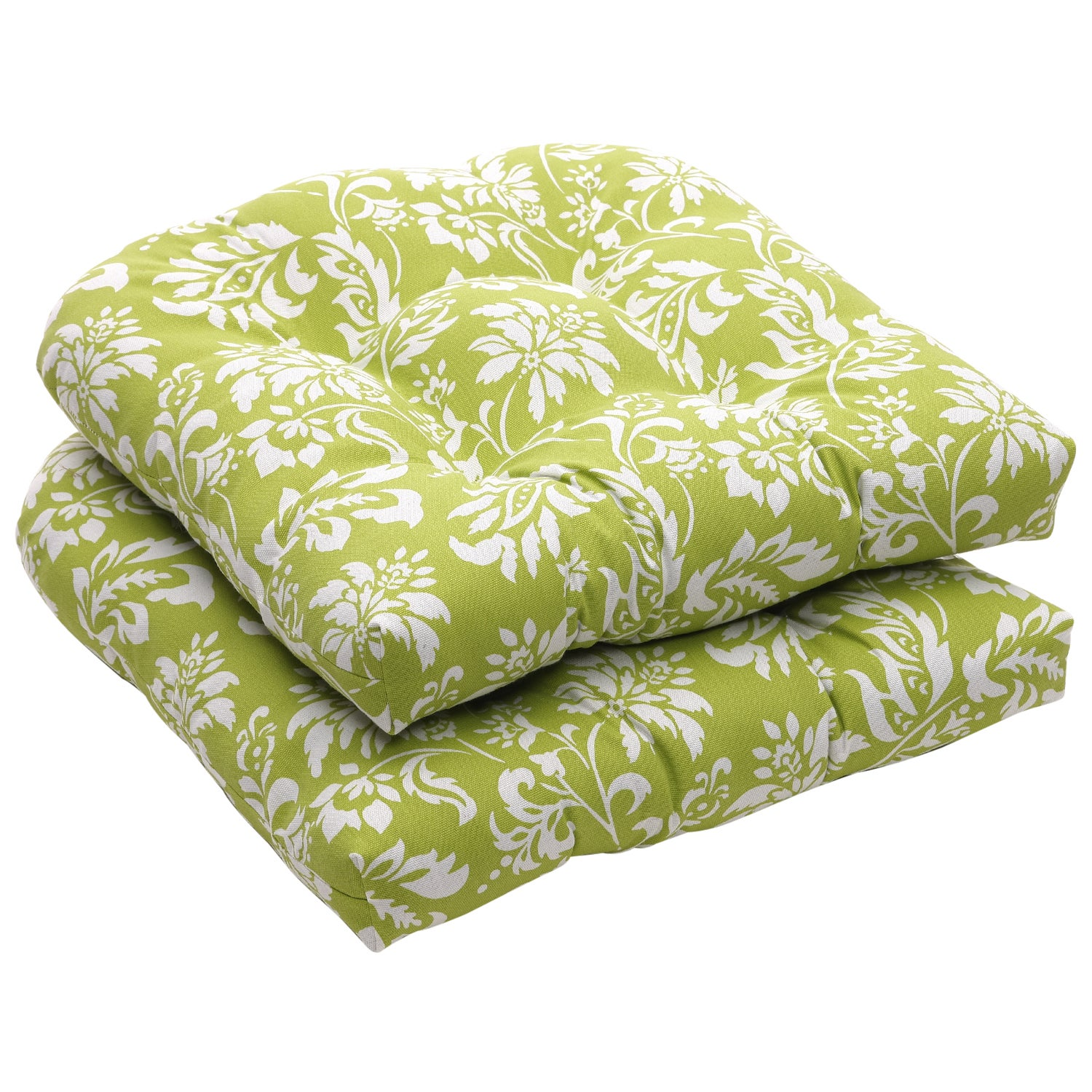 Shop Outdoor Green And White Floral Wicker Seat Cushions