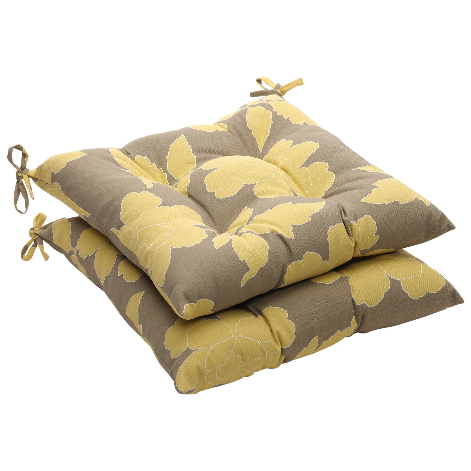 Gray Yellow Floral Outdoor Tufted Seat Cushions Set Of 2