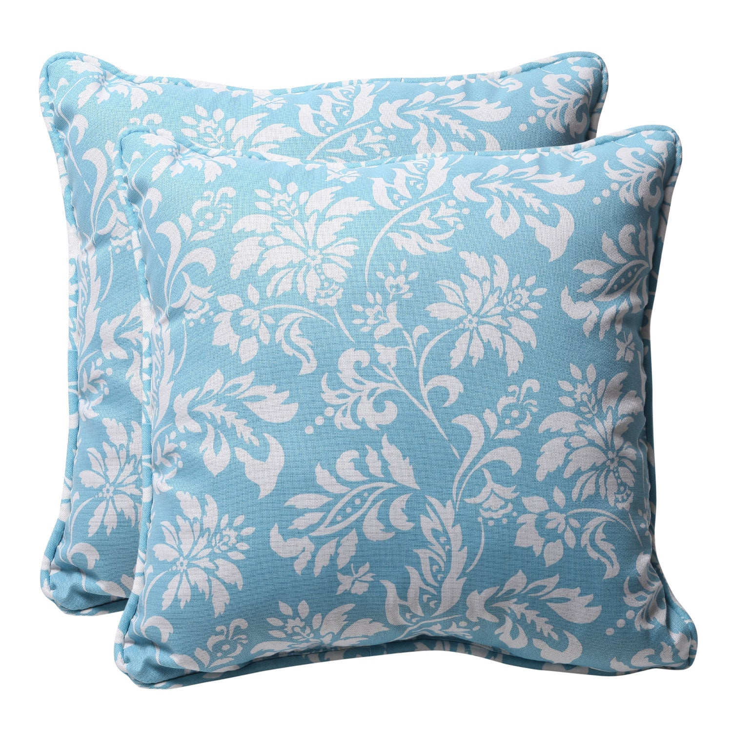 Decorative Blue/ White Floral Square Outdoor Toss Pillows (Set of 2)