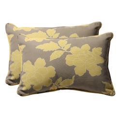 Decorative Grey/ Yellow Rectangle Floral Outdoor Toss Pillow (Set of 2) - Thumbnail 0