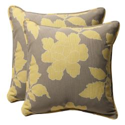 Decorative Grey/ Yellow Floral Square Outdoor Toss Pillows (Set of 2)