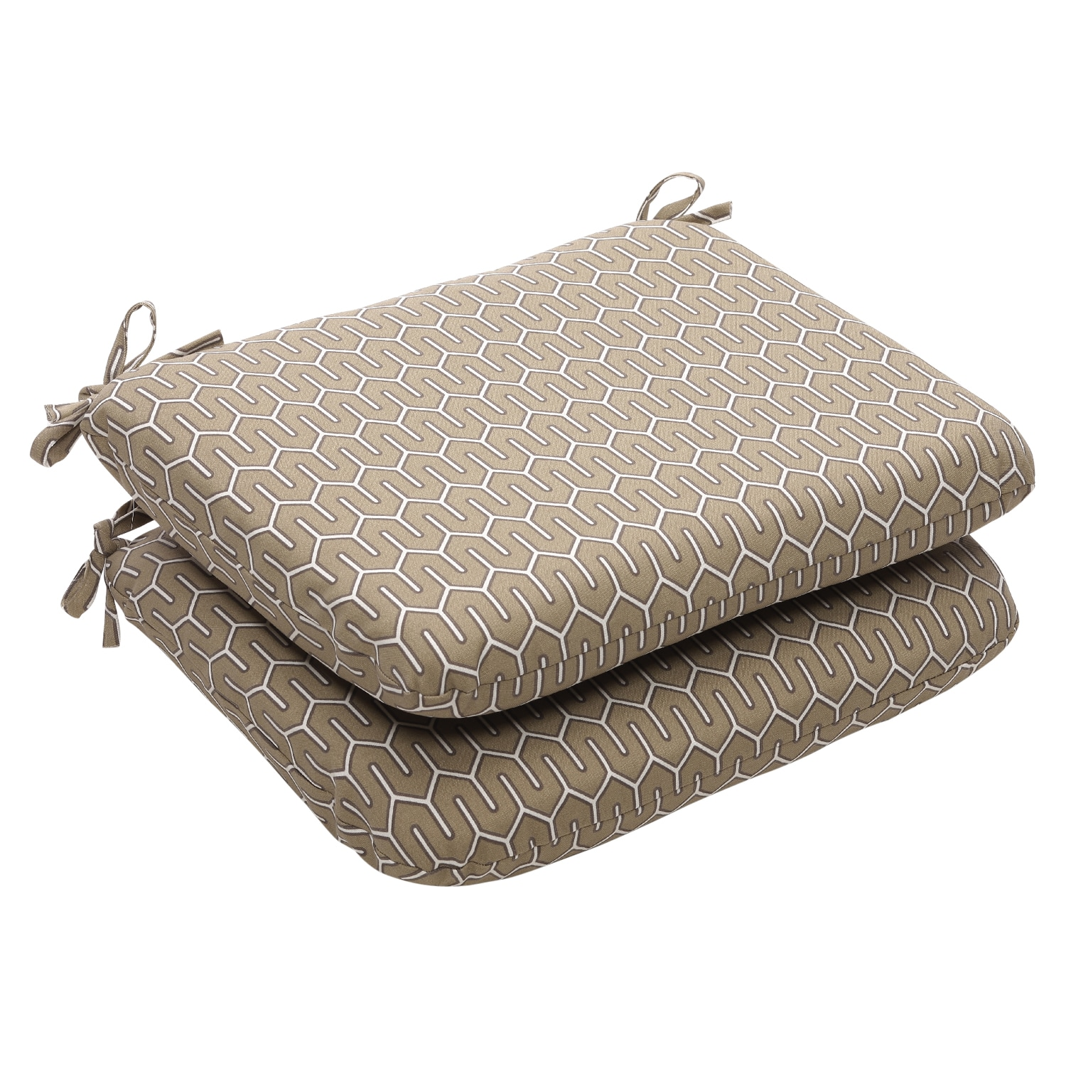 Outdoor Taupe Contemporary Rounded Seat Cushions (Set of 2)
