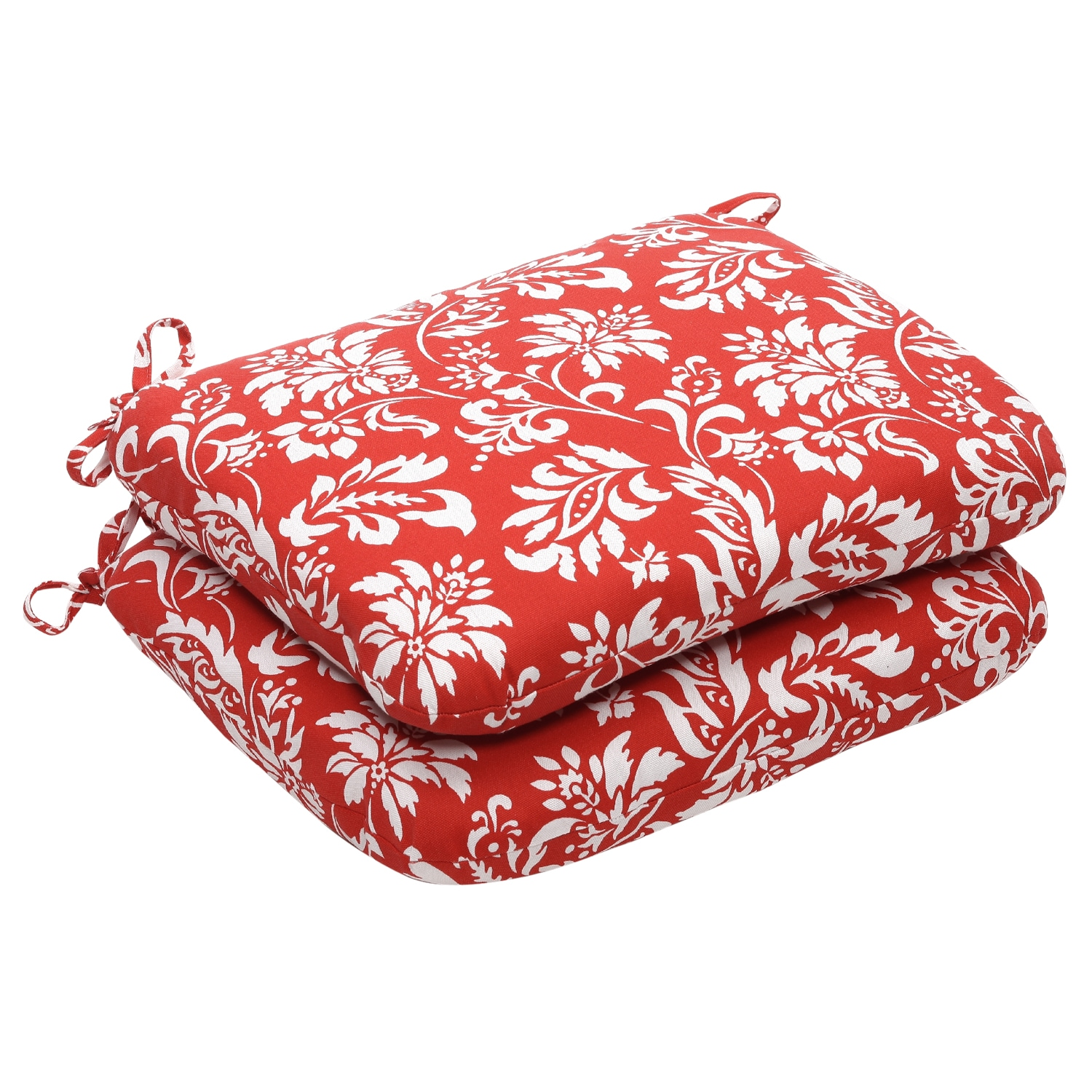 Outdoor Red/White Floral Rounded Seat Cushion (Set of 2)