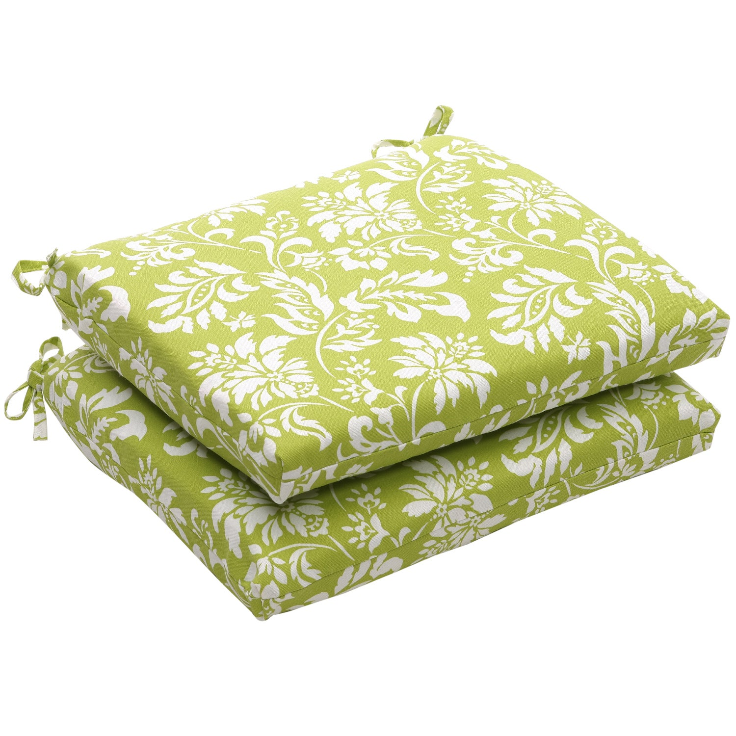 Outdoor Green and White Floral Squared Seat Cushion (Set of 2)