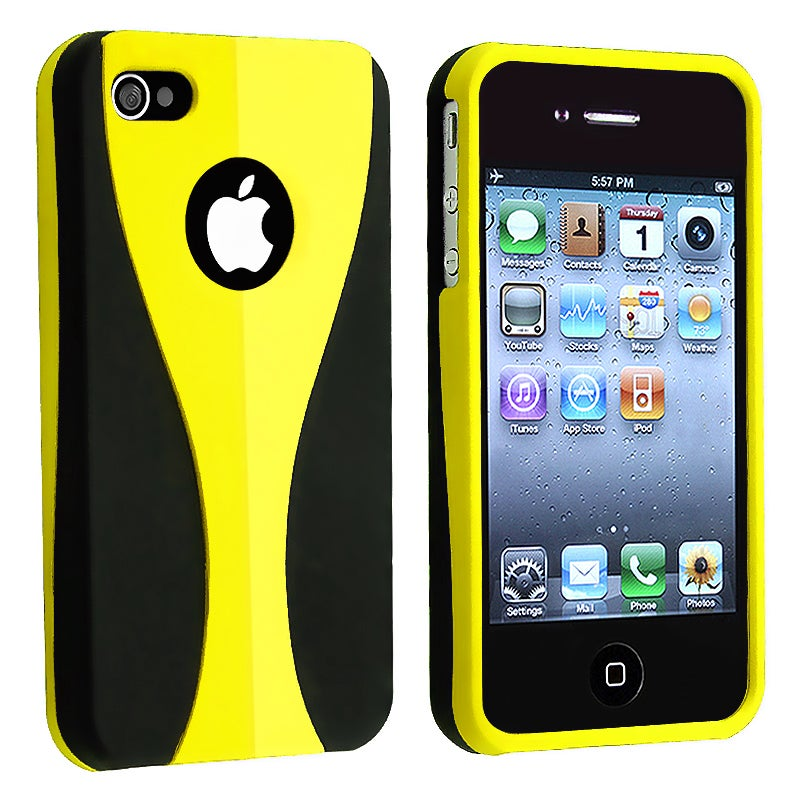 Yellow/ Black Cup Shape Snap-on Case for Apple iPhone 4/ 4S
