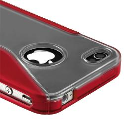 Clear/ Frost Red S Shape TPU Rubber Skin Case for Apple iPhone 4/ 4S - Thumbnail 1