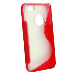 Clear/ Frost Red S Shape TPU Rubber Skin Case for Apple iPhone 4/ 4S - Thumbnail 2