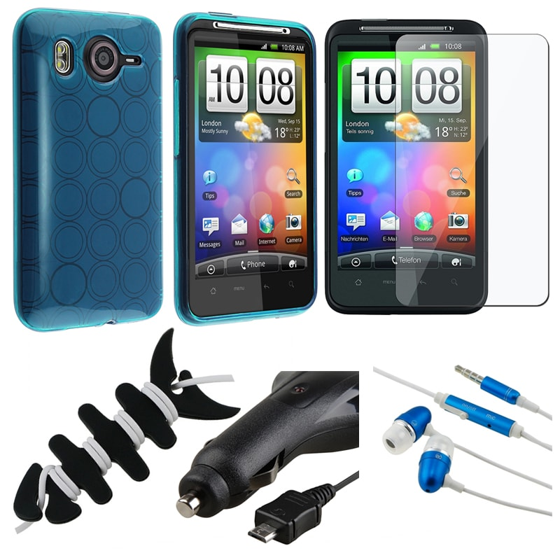 BasAcc Blue Case/ LCD Protector/ Headset/ Wrap/ Charger for HTC Desire