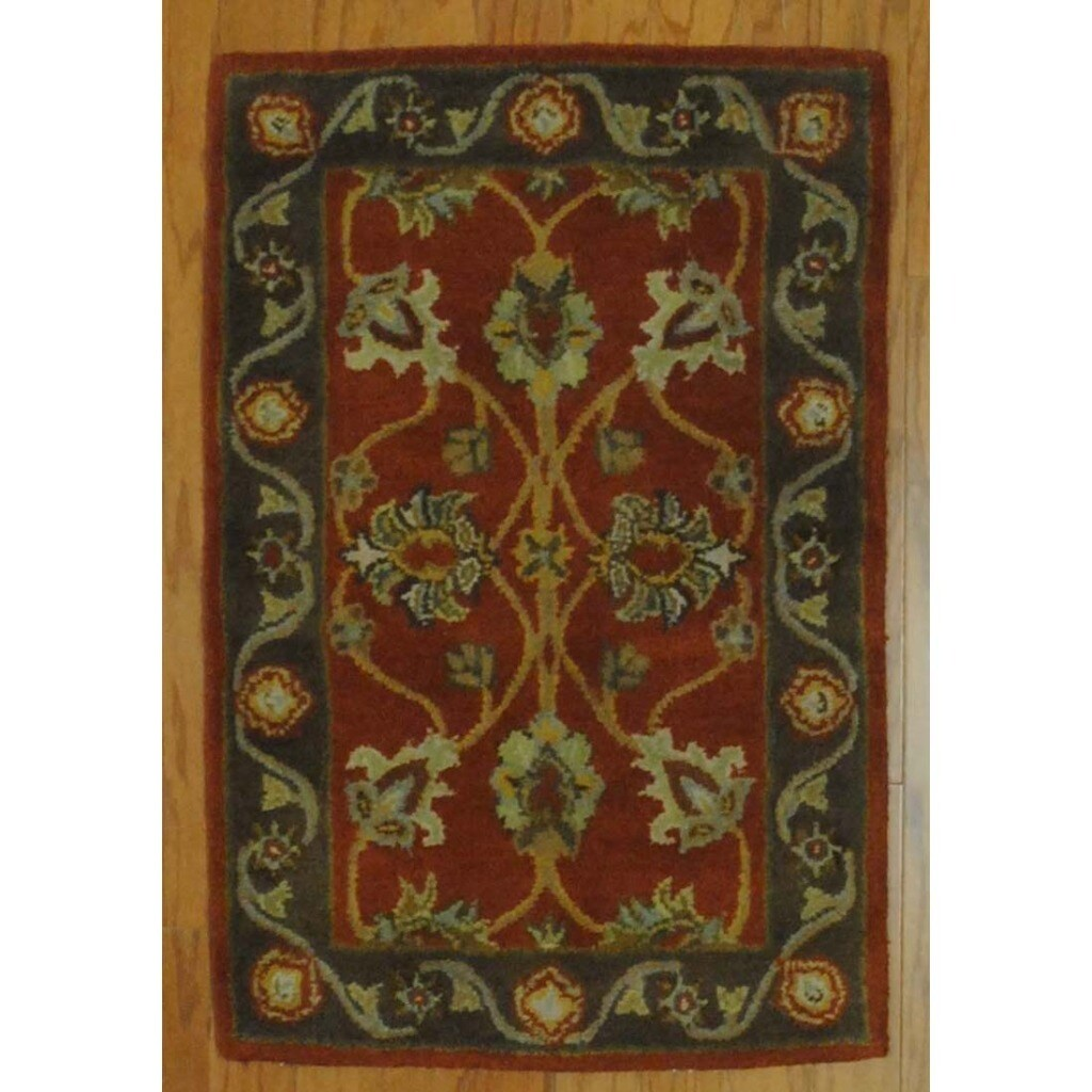 Indo Hand-tufted Mahal Rust/ Brown Wool Rug (2' x 3')