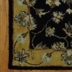 Indo Hand-tufted Mahal Black/ Gold Wool Rug (2' x 3')