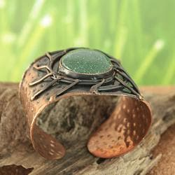 Handcrafted Copper Antique Green Sun Cuff Bracelet (India) - Thumbnail 1