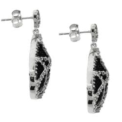 Sterling Silver Clear Cubic Zirconia Black Beaded Pear-shaped Earrings