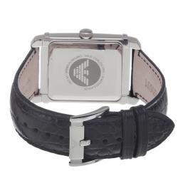 Emporio Armani Men's 'Classic' Black Dial Black Leather Strap Watch - Thumbnail 1