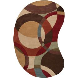 Hand-tufted Contemporary Multi Colored Circles Buxar Wool Geometric Rug (6' x 9' Kidney)