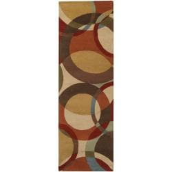 Hand-tufted Contemporary Multi Colored Circles Buxar Wool Geometric Rug (3' x 12')