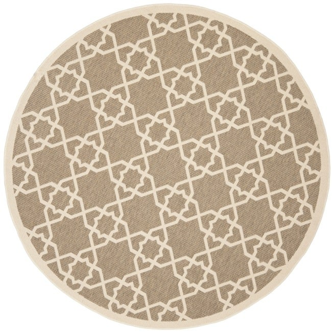 Safavieh Courtyard Geometric Trellis Brown Beige Indoor
