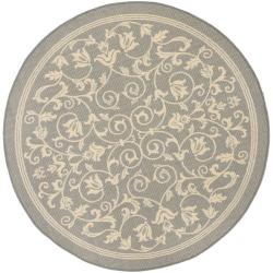 Safavieh Geometric Gray/ Natural Indoor/ Outdoor Rug (6'7 Round)