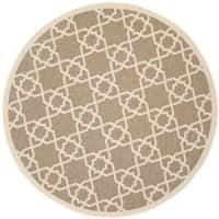 "Safavieh Courtyard Geometric Trellis Brown/ Beige Indoor/ Outdoor Rug - 6'7"" x 6'7"" round"