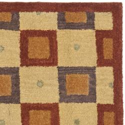 Safavieh Handmade New Zealand Checkers Beige/ Rust Rug (8' Square) - Thumbnail 1