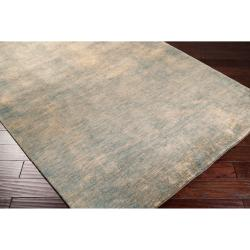 Hand-crafted Blue Comsumist Wool Rug (9' x 13')