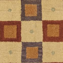 Safavieh Handmade New Zealand Checkers Beige/ Rust Rug (8' Square) - Thumbnail 2
