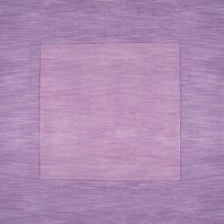 Hand-crafted Purple Tone-On-Tone Bordered Hackberry Wool Rug (7'6 x 9'6)