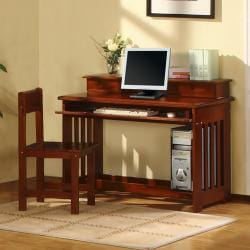 Merlot Solid Pine Wood Bookcase Full-Size Bedroom Set (5 Pieces)