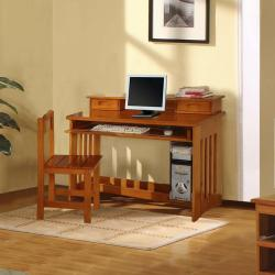Honey Solid Pine Wood Bookcase Twin-Size Bedroom Set (5 Pieces) - Thumbnail 1