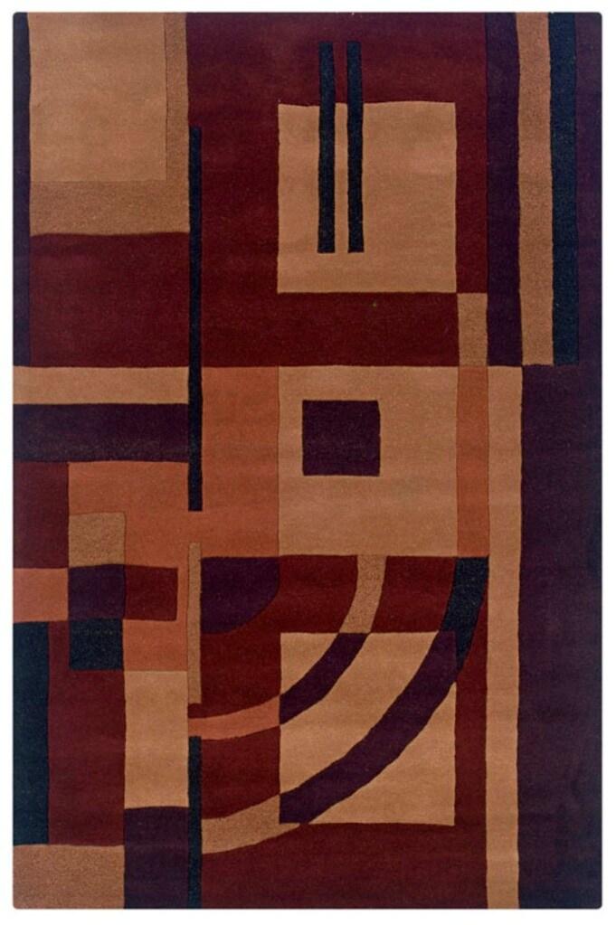 Hand-tufted Artisan Burgandy Rug (8' x 10')