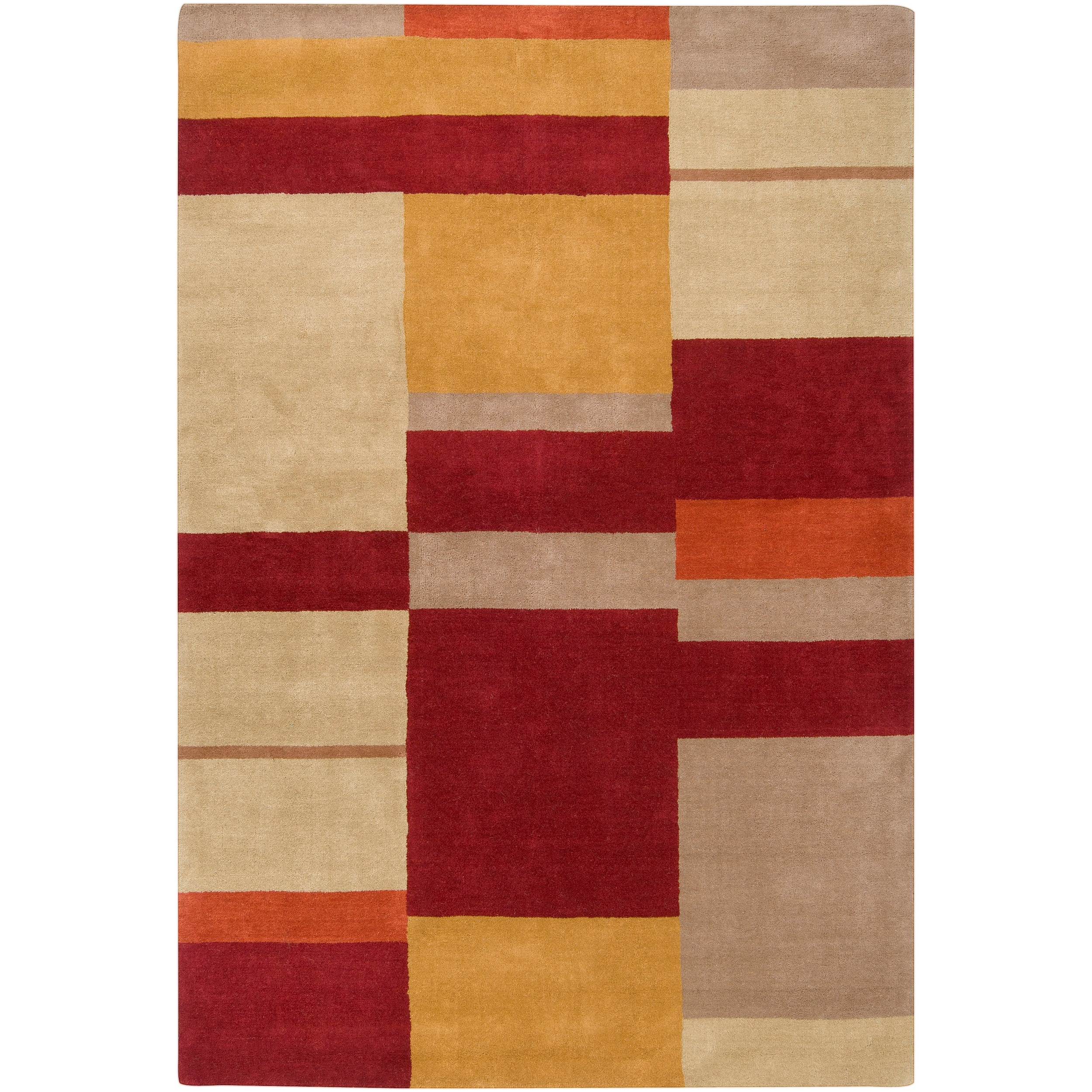 Hand-tufted Contemporary Multi Colored Squares Texico Wool Geometric Rug (5' x 8')