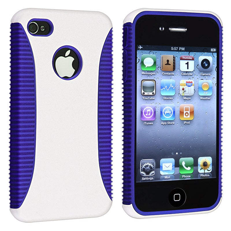 Dark Blue TPU/ White Hard Hybrid Case for Apple iPhone 4/ 4S