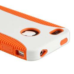Orange TPU/ White Hard Hybrid Case for Apple iPhone 4/ 4S - Thumbnail 1