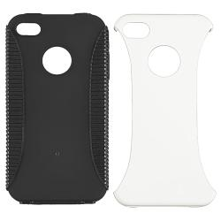 Black TPU/ White Hard Hybrid Case for Apple iPhone 4/ 4S
