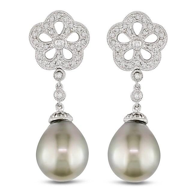 Miadora 14k White Gold 1/2ct TDW Diamond and South Sea Pearl Earrings (H-I, I1-I2)