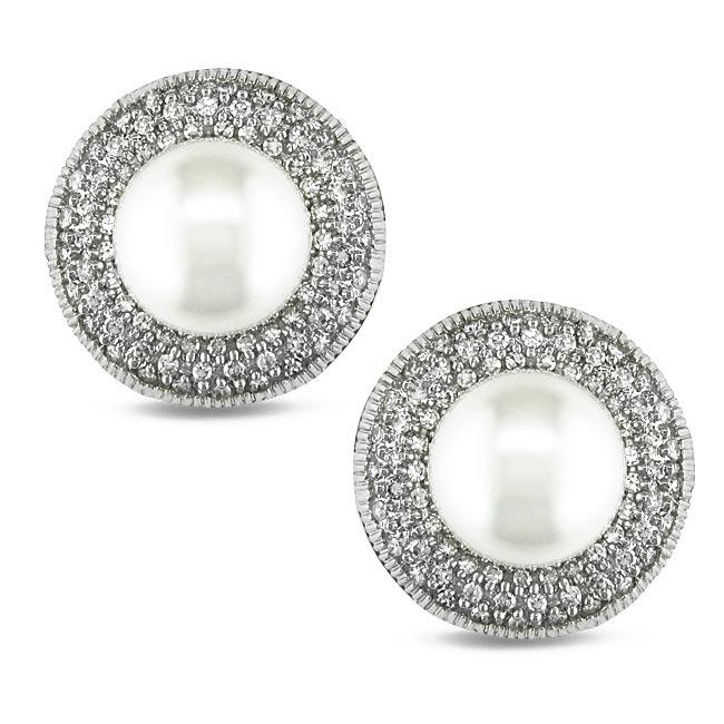 Miadora 14k White Gold 3/4ct TDW Diamond and South Sea Pearl Earrings (G-H, I1)