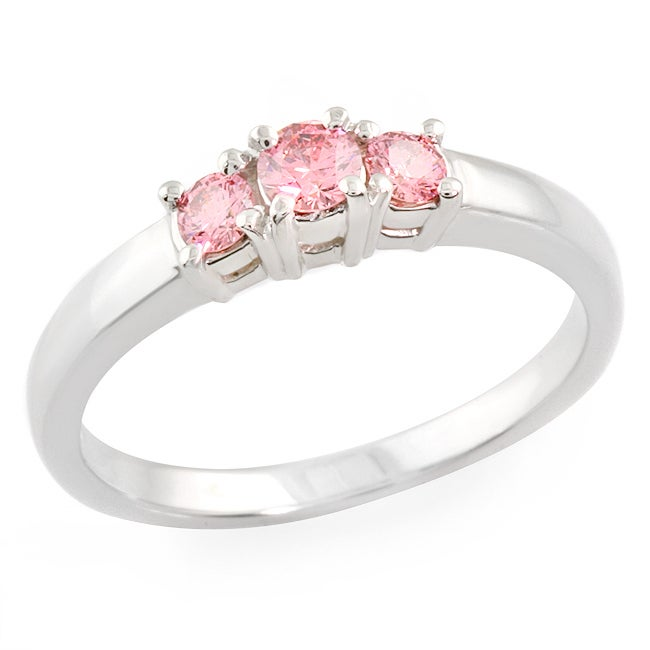 14k White Gold 1/2ct TDW Pink Diamond 3-stone Ring - Thumbnail 0