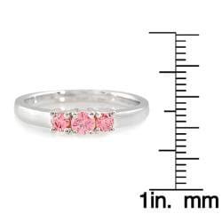 14k White Gold 1/2ct TDW Pink Diamond 3-stone Ring - Thumbnail 2