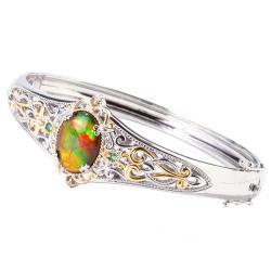 Michael Valitutti Two-tone Multicolor Ammolite, Emerald and Sapphire Bracelet