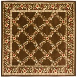 Safavieh Lyndhurst Traditional Floral Trellis Ivory/ Brown Rug (6'7 Square)