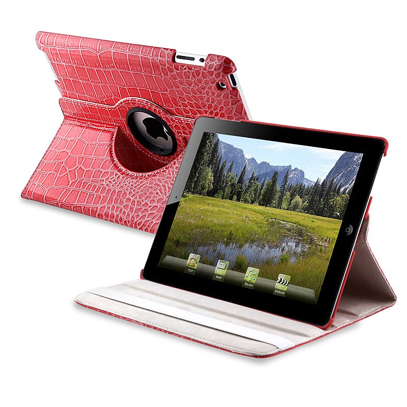 Pink Crocodile Skin 360-degree Swivel Leather Case for Apple iPad 2