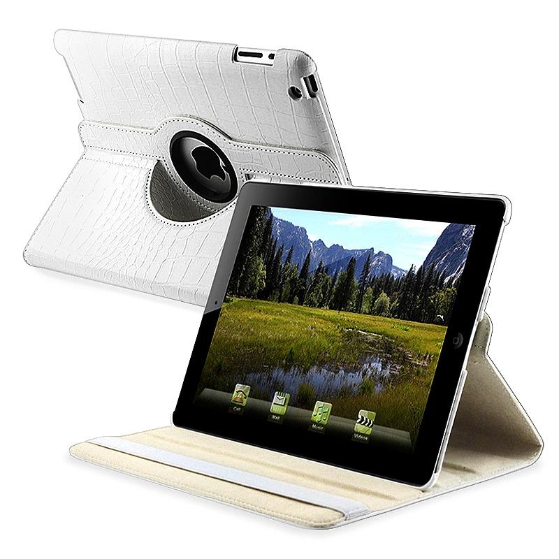 White Crocodile Skin 360-degree Swivel Leather Case for Apple iPad 2