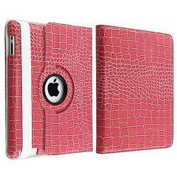 Pink Crocodile Skin 360-degree Swivel Leather Case for Apple iPad 2 - Thumbnail 1