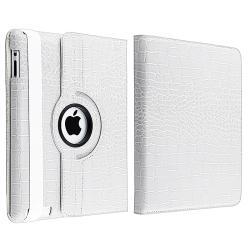 White Crocodile Skin 360-degree Swivel Leather Case for Apple iPad 2 - Thumbnail 1