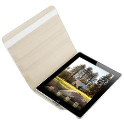 White Crocodile Skin 360-degree Swivel Leather Case for Apple iPad 2 - Thumbnail 2
