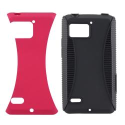 Black TPU/ Hot Pink Hard Hybrid Case for Motorola Droid Bionic XT875