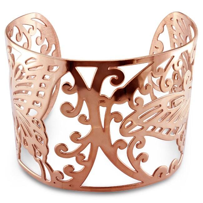 Miadora Pink-plated Stainless Steel Openwork Cuff Bracelet