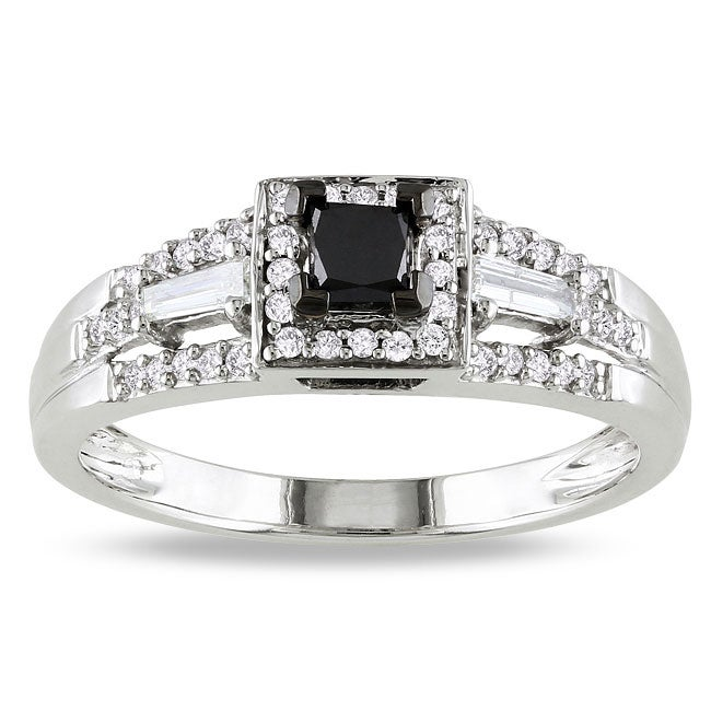 Miadora 10k Gold 1/2ct TDW Black and White Diamond Halo Ring (G-H, I2)