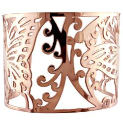 Miadora Pink-plated Stainless Steel Openwork Cuff Bracelet - Thumbnail 1