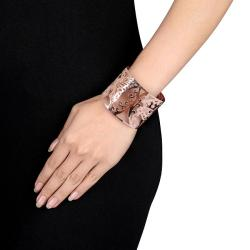 Miadora Pink-plated Stainless Steel Openwork Cuff Bracelet - Thumbnail 2