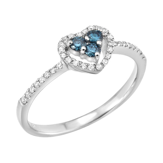 14k White Gold 1/3ct TDW Blue and White Diamond Heart Ring (G, SI2)